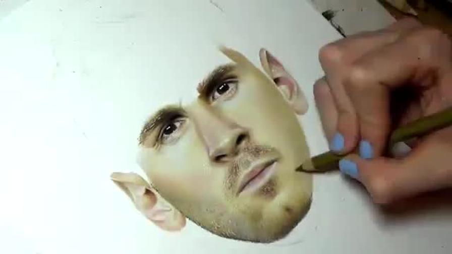 Messi Disegno Iper Realistico Sembra Una Foto Video Gazzettait