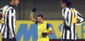 L'esultanza di Sergio Pellissier dopo il gol dell'1-1: Ap