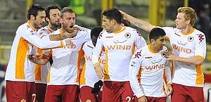 La festa della Roma dopo il gol di De Rossi. OTNPhotos