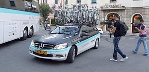 The bicycles of team Leopard in front of hotel in Rapallo. Afp
