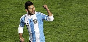 Sergio Aguero con la maglia dell'Argentina. Ansa