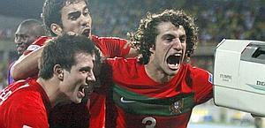La gioia dei giocatori portoghesi. Epa