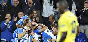L'Odense esulta dopo l'1-0 al Villarreal. Ansa