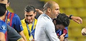 Pep Guardiola, 40 anni, festeggia a Montecarlo. Liverani