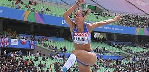 Simona La Mantia in azione. Afp