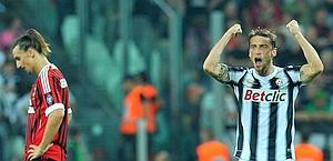 Ibra a pezzi; Marchisio esulta. Ansa.