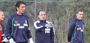 Cesare Prandelli with Buffon and Chiellini. ANSA