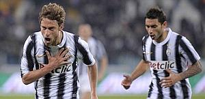 Marchisio esulta dopo il gol del decisivo 2-1. LaPresse