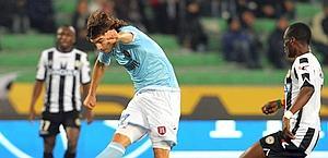 Alberto Ploschi segna il gol del 2-1. Ap