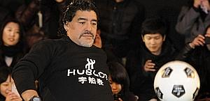 Diego Maradona hits the spot during Shanghai charity event