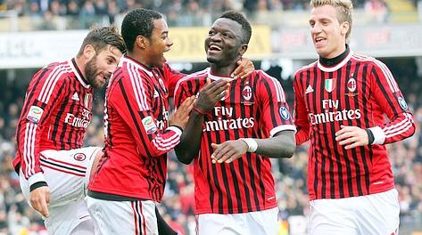 Festa Milan dopo il gol di Muntari. Ansa