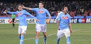 I tre fuoriclasse del Napoli: Cavani, Hamsik e Lavezzi. LaPresse