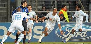 La gioia di Ayew dopo il gol partita. Afp