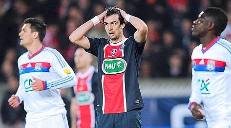 Javier Pastore si dispera a Parigi. Afp