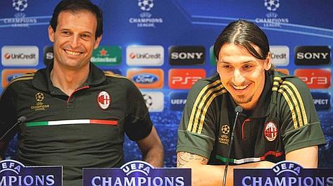 Zlatan Ibrahimovic e Massimiliano Allegri durante la conferenza stampa Uefa. Ansa