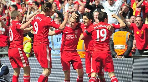 Il Liverpool festeggia il passaggio in finale FA Cup. Afp
