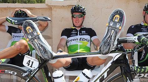 Matt Goss della GreenEdge, una delle squadre favorite per la crono di oggi. Bettini
