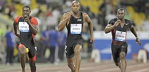 Lo sprint vincente di Gatlin in 9'87.. Reuters