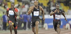 Lo sprint vincente di Gatlin in 9'87.. Reuters