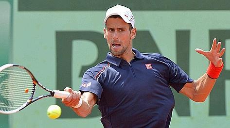 Il dritto di Novak Djokovic. Afp