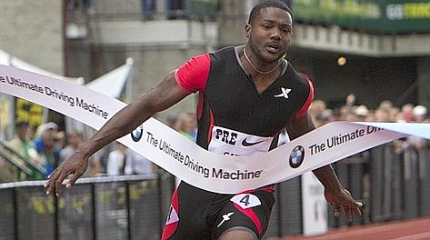 Justin Gatlin in forma nell'Oregon. Reuters