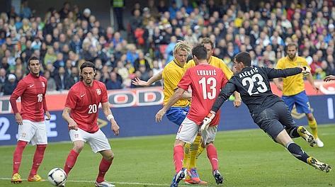Il gol dell'1-0 realizzato da Toivonen. Afp