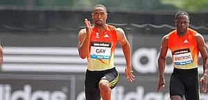Tyson Gay in azione nei 100 a New York. Afp