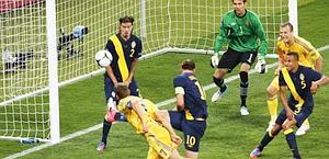 Il secondo gol, per il 2-1. Epa