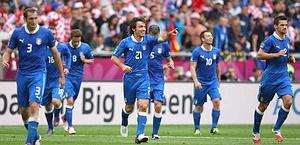 Felicità azzurra dopo il gol di Pirlo. LaPresse