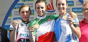 Il podio della prova elite: Valsecchi, Borgato, Bastianelli. Bettini