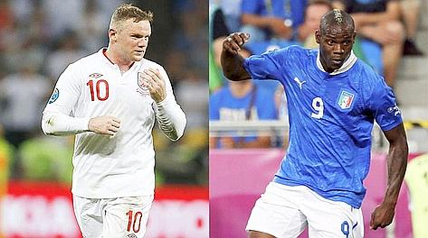 Chi si rivede. Wayne Rooney e Mario Balotelli. LaPresse/Reuters