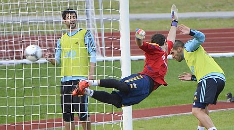 Iker Casillas in allenamento. Afp