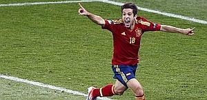 La gioia di Jordi Alba dopo il gol. Reuters