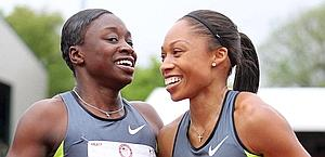 Jeneba Tarmoh and Allyson Felix. Afp
