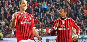 Zlatan Ibrahimovic, 30, con Robinho, 28. Ansa