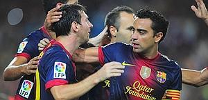 Festa Barcellona dopo il gol su rigore di Messi. Afp