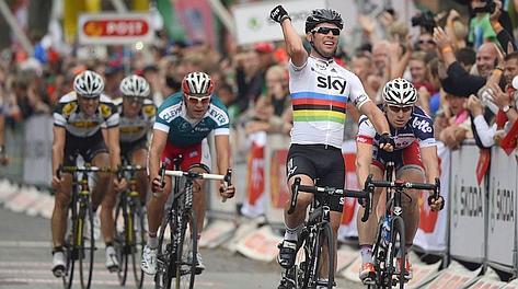Mark Cavendish, 27 anni, esulta sul traguardo di Frederiksberg. Ap