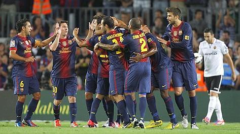 Festa blaugrana al gol di Adriano. Reuters