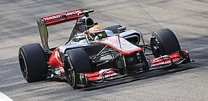 Lewis Hamilton in action at Monza: his third victory of 2012. Ansa