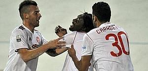 Ebagua dopo il provvisorio vantaggio Varese. LaPresse