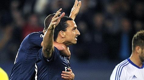Zlatan Ibrahimovic, eccellente contro la Dinamo. Afp