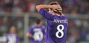 La disperazione di Jovetic, che ha solo sfiorato il gol. LaPresse