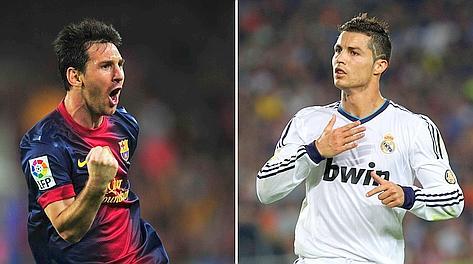 Leo Messi, 25 anni, e Cristiano Ronaldo, 27, mattatori al Camp Nou. Afp