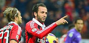 Giampaolo Pazzini esulta, ma l'1-2 non basta al Milan. Afp