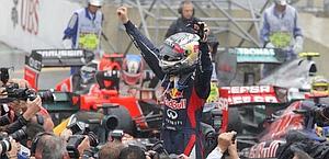 Vettel, 25 anni, tricampione del mondo. Afp