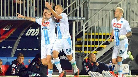 Marek Hamsik, 25 anni, festeggia dopo il gol. Lapresse