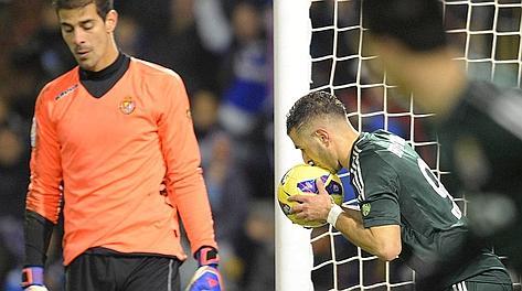 Benzema bacia la palla dopo il gol: è il momentaneo 1-1. Reuters