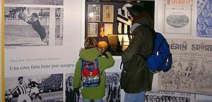 Padre e figlio al museo della Juve. Iaria