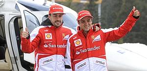 Fernando Alonso, 31, and Felipe Massa at Campiglio. Ap