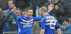 De Silvestri-Icardi, due protagonisti della vittoria Samp. Ansa